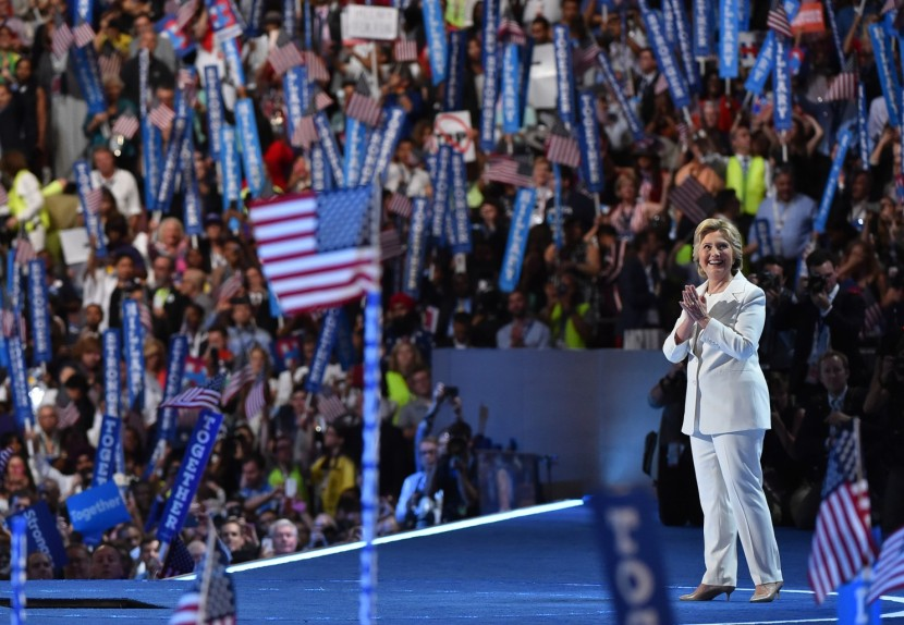 Democratic presidential nominee Hillary Clinton in her iconic white pantsuit. (Ricky Carioti/The Washington Post)