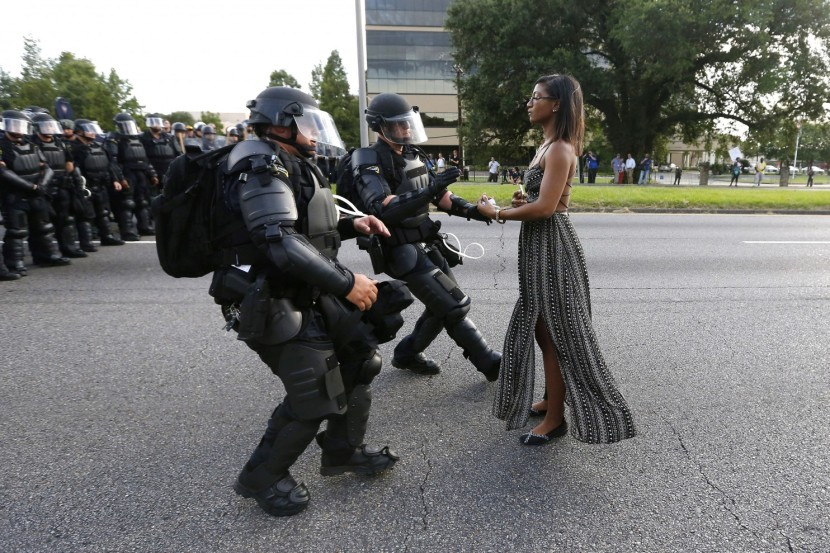 Ieshia Evans is detained by law enforcement as she protests the shooting death of Alton Sterling. (Jonathan Bachman/Reuters)