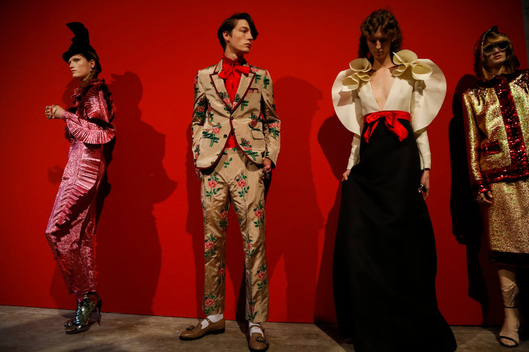 Gucci is among the fashion brands that will continue presenting both men's and women's collections in one show. Credit Valerio Mezzanotti for The New York Times