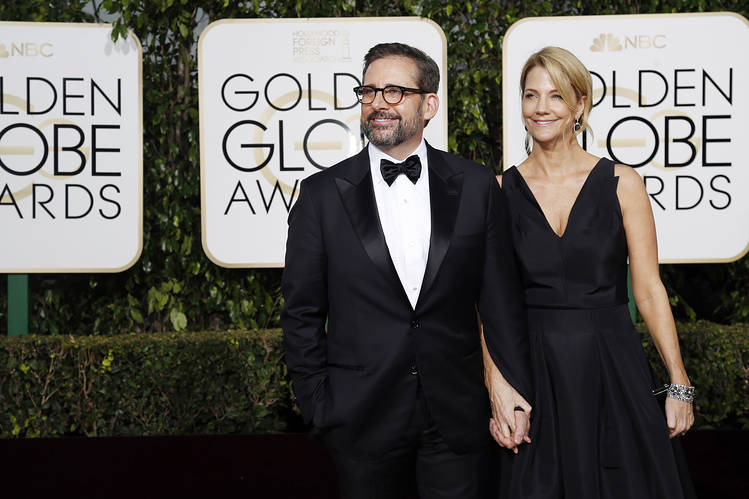 Actor Steve Carell and his wife, Nancy, arrive at the Golden Globe Awards in Beverly Hills, Calif., in 2016. Photo: Mario Anzuoni/Reuters