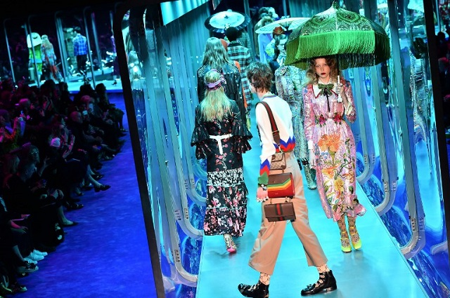 Gucci creations on the catwalk at this year's show. Photo: Giuseppe Cacace/AFP