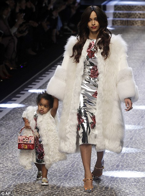Young at heart: During the show, young children were seen accompanying adult models as they showed off the designs
