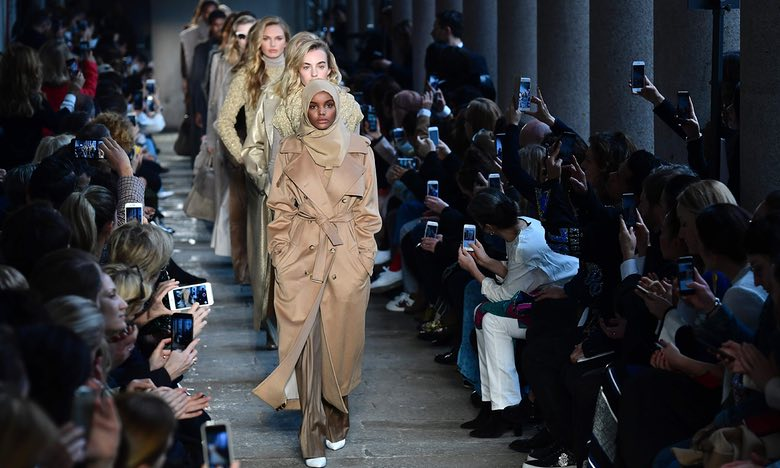 Somali-American model Halima Aden wears a hijab on the catwalk during Milan fashion week. Photograph: Miguel Medina/AFP/Getty Images